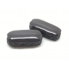 2 Cabochons Éclair au Chocolat en Résine 25x12mm
