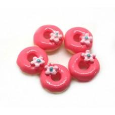 5 Cabochons Minis Donuts Fleur en Résine 9mm pour la Création de Bijoux Fantaisie - DIY