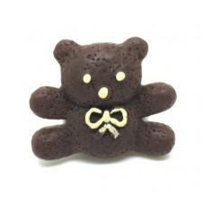 2 Cabochons Nounours Ourson au Chocolat en Résine 15x17mm