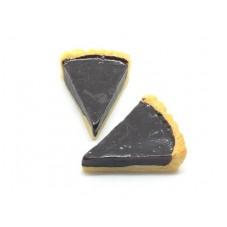 2 Cabochons Part de Tarte au Chocolat en Résine 23x18mm