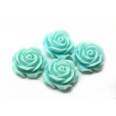 4 Cabochons Fleur Rose en Résine Bleu 14.5mm
