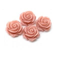 4 Cabochons Fleur Rose en Résine Vieux Rose 14.5mm