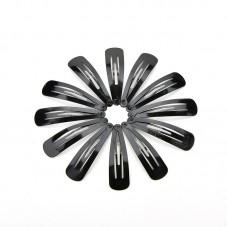 10 Supports Barrette Noire Clip Clic Clac Cheveux 4,6cm