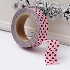 Rouleau de Masking Tape Rose à Pois Noir 15mmx10m
