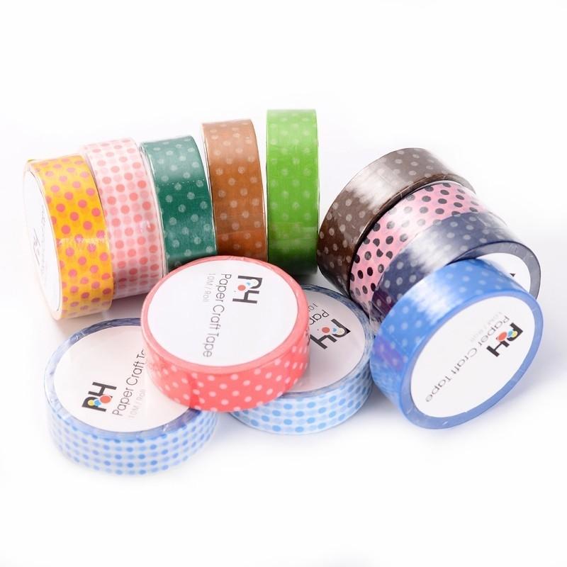 12 Rouleaux de Masking Tape à Pois Multicolore 15mmx10m