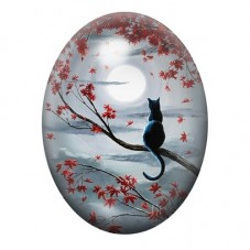 Cabochon en Verre Illustré Silhouette Chat Noir Lune 30x40mm
