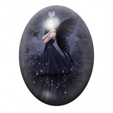 Cabochon en Verre Illustré Ange Noir Gothique 30x40mm