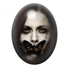 Cabochon en Verre Illustré Femme papillon Gothique 30x40mm