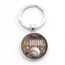 """Porte-clé """"J'peux pas j'ai baseball"""" Cadeau Original Humour Anniversaire Noël"""