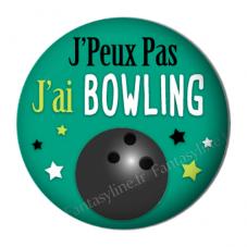 """Cabochon en Résine à Coller """"J'peux pas j'ai bowling"""" 25mm"""