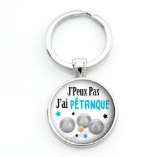 """Porte-clé """"J'peux pas j'ai Pétanque"""" Cadeau Original Humour Anniversaire Noël"""