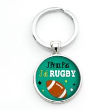 """Porte-clé """"J'peux pas j'ai rugby"""" Cadeau Original Humour Anniversaire Noël"""
