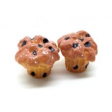 2 Cabochons Muffin Pépites de Chocolat en Résine 19mm