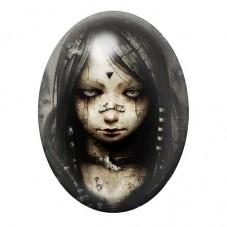 Cabochon en Verre Illustré Petite Fille Gothique 30x40mm