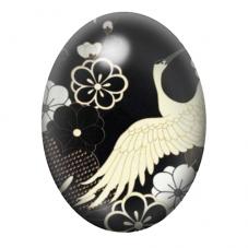 Cabochon en Verre Illustré Fleurs Noir et Blanc 30x40mm