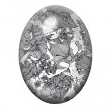 Cabochon en Verre Illustré Fleurs Noir et Blanc 13x18, 18x25 ou 30x40mm pour la Création de Bijoux Fantaisie - DIY