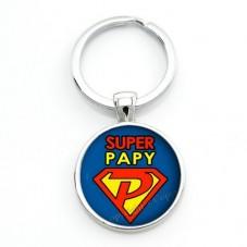 """Porte-clé """"Super Papy"""" Cadeau Fête des Grands-Pères Anniversaire Noël"""