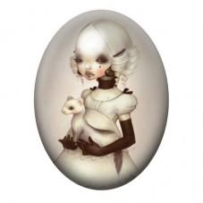 Cabochon en Verre Illustré Fille Étrange Gothique 30x40mm