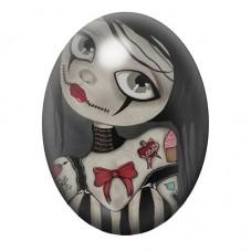 Cabochon en Verre Illustré Fille Étrange Gothique 13x18, 18x25 ou 30x40mm pour la Création de Bijoux Fantaisie - DIY