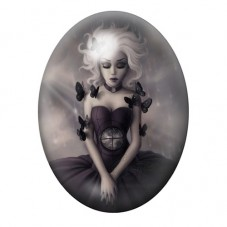 Cabochon en Verre Illustré Fille Papillons Gothique 30x40mm