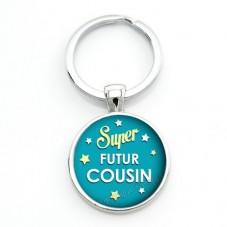 """Porte-clé """"Super Futur Cousin"""" Cadeau Original Annonce de Grossesse Naissance"""