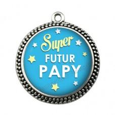 """Pendentif Cabochon en Résine """"Super Futur Papy"""" 25mm"""