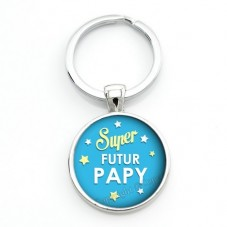 """Porte-clé """"Super Futur Papy"""" Cadeau Original Annonce de Grossesse Naissance"""