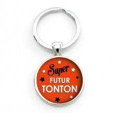 """Porte-clé """"Super Futur Tonton"""" Cadeau pour Annonce de Grossesse Naissance"""