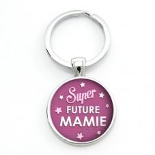"""Porte-clé """"Super Future Mamie"""" Cadeau pour Annonce de Grossesse Naissance"""
