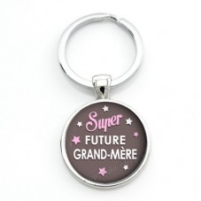 """Porte-clé """"Super Future Grand-Mère"""" Cadeau pour Annonce de Grossesse Naissance"""