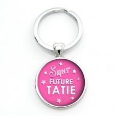 """Porte-clé """"Super Future Tatie"""" Cadeau pour Annonce de Grossesse Naissance"""