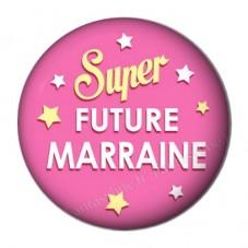 """Cabochon en Résine à Coller """"Super Future Marraine"""" 25mm"""