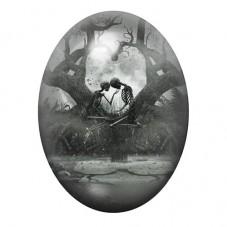 Cabochon en Verre Illustré Squelette Gothique 30x40mm