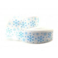 1 Mètre de Ruban Gros Grain Imprimé Flocons de neige Noël 25mm pour la Création de Bijoux Fantaisie - DIY
