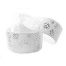 1 Mètre de Ruban Gros Grain Imprimé Flocons de Neige Noël 22mm pour la Création de Bijoux Fantaisie - DIY