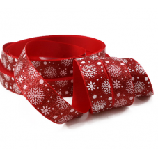 1 Mètre de Ruban Pailleté Imprimé Flocons de Neige Noël 22mm pour la Création de Bijoux Fantaisie - DIY