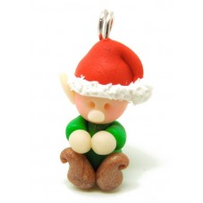 Breloque Lutin de Noël en Pâte Polymère Fimo 25x15mm