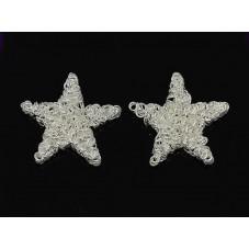 2 Cabochons Étoile en Fil de Fer Argenté Noël 25mm