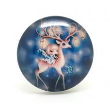 Cabochon en Verre Illustré Cerf Noël Petite Fille 25mm pour la Création de Bijoux Fantaisie - DIY