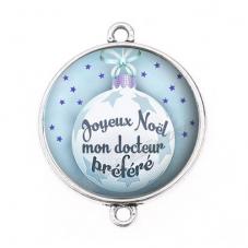 """Connecteur Cabochon en Résine """"Joyeux Noël mon Docteur"""" 25mm"""
