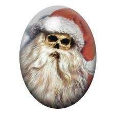 Cabochon en Verre Illustré Père-Noël Tête de Mort Horreur Gothique 13x18, 18x25 ou 30x40mm pour la Création de Bijoux Fantaisie