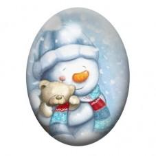 Cabochon en Verre Illustré Bonhomme de Neige Noël 30x40mm