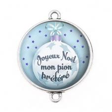 """Connecteur Cabochon en Résine """"Joyeux Noël mon Pion"""" 25mm"""