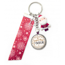 "Porte-Clé ""Joyeux Noël ma Soeur"" Cadeau de Noël Original"