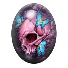 Cabochon en Verre Illustré Crâne Tête de Mort Papillon Gothique 13x18, 18x25 ou 30x40mm pour la Création de Bijoux Fantaisie - D