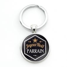 """Porte-clé """"Joyeux Noël Parrain"""" Cadeau de Noël Original"""