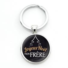 """Porte-clé """"Joyeux Noël mon Frère"""" Cadeau de Noël Original"""