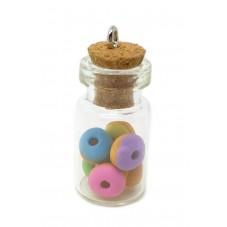 Breloque Fiole en Verre Donuts Gourmandise Fimo 25mm pour la Création de Bijoux Fantaisie - DIY