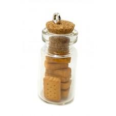 Breloque Fiole en Verre Biscuit Gourmandise Fimo 25mm pour la Création de Bijoux Fantaisie - DIY