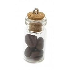 Breloque Fiole en Verre Grain de Café Gourmandise Fimo 25mm